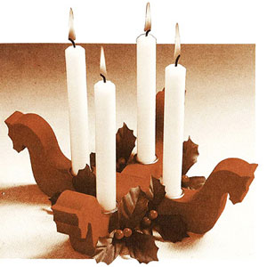 4 horse candle holder