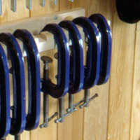 Blue clamps in a row