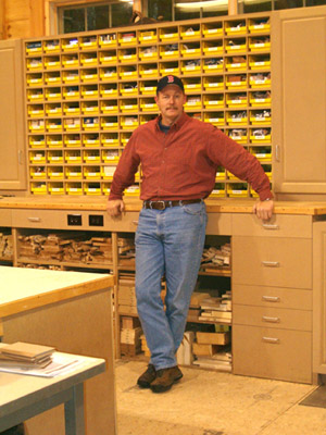 View of mike and cabinets