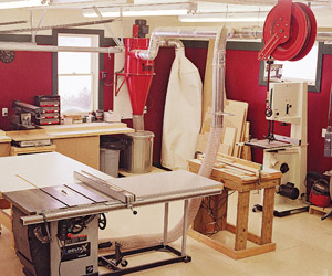 Interior shop with red wall and with tools