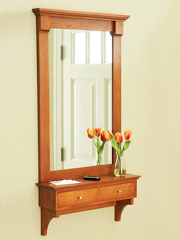 Download wood plans hall mirror plans free for Hallway mirror and shelf