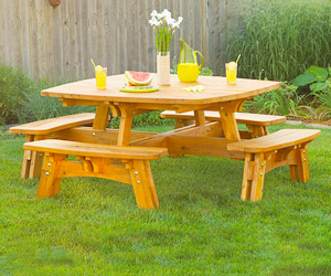 outdoor wooden picnic table plans