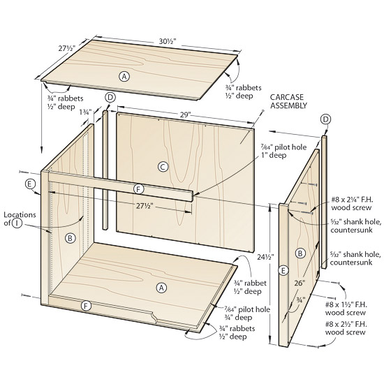 Plans small wood shed cabinet carcass construction plans for Kitchen carcasses online