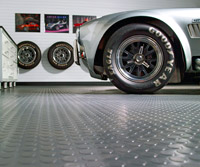 Floor with car wheel showing