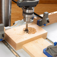 Router bit in hole drilling