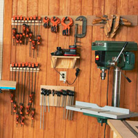 Bunch of clamps on wall