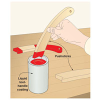 Putting paint stick into red paint can