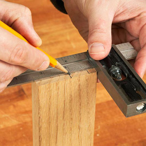 Marking wood with metal square