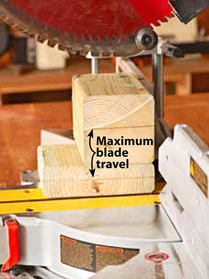 Type on photo: Maximum blade travel
