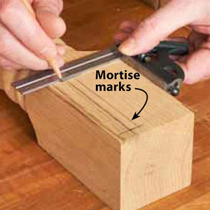 Callout saying Mortise marks