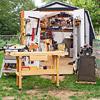 Little shed with workbench in front