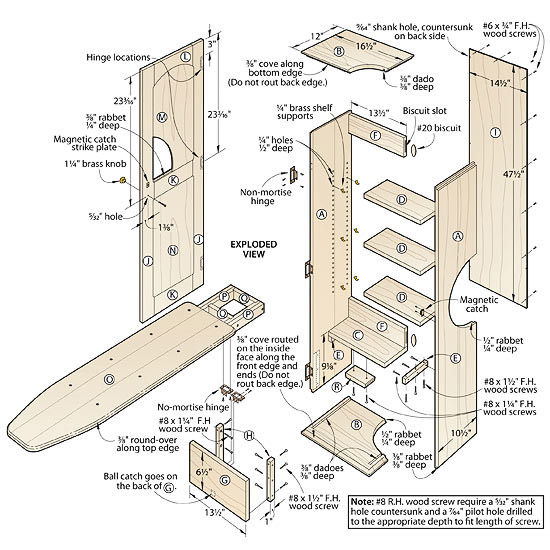 Ironing Board Cabinet Plans, Wood Box Woodworking Plans