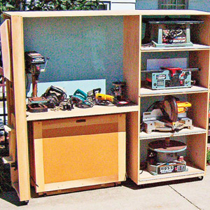 Cabinet with one large compartment and 4 smaller ones to the right