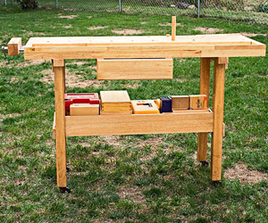Workbench on grass