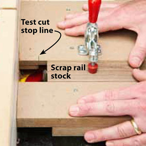 Text on photo, Test cut stop line : Scrap rail stock