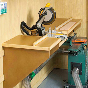 Miter saw on bench