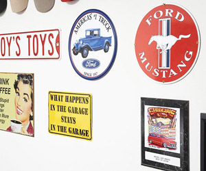 Ford mustang sign and other