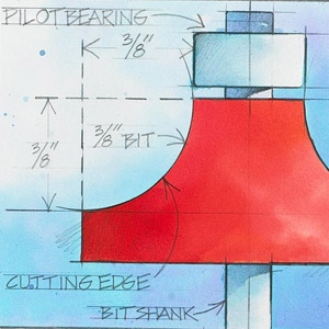 Drawing showing hight of parts of a router bit