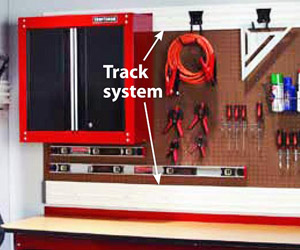 Red cabinet with tack system