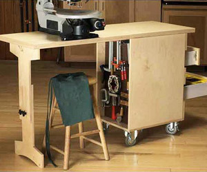Workbench with stool under it