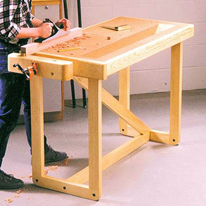 Man using planer on workbench
