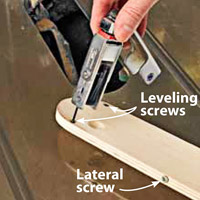 Push metal object into hold, Copy on it. Leveling screws, Lateral screw
