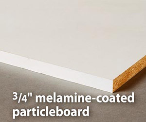 Melamine-coated particleboard
