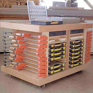 Mobile Worktable with Clamp Storage