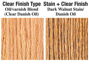 Clear and dark walnut stain (Danish Oil)