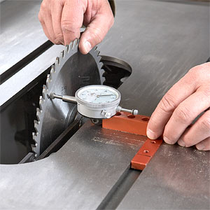 Gauge against saw blade