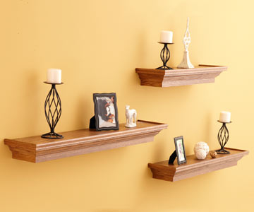 These easy-to-build floating shelves use crown molding and plywood cap ...