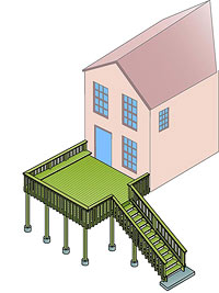 Illus. of house with deck with steps