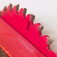 Red saw blade