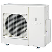 Air conditioner with round fan in front