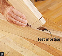 Inserting jig in test mortise