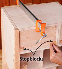 Large clamp on drawer bottom