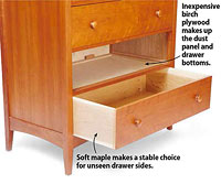 Cabinet with bottom drawer open