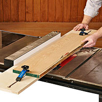 Boards on table saw