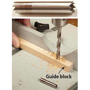 Drilling in guide block
