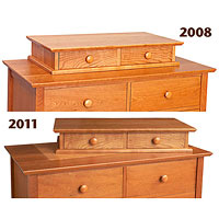 2 dresser tops different colors