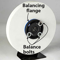 White wheel, balance bolts