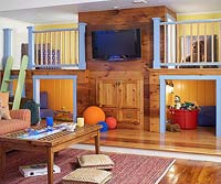 Colorful kids room with TV in center