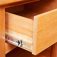 Drawer with metal slide at the bottom