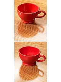 2 photos showing cups on surface