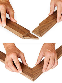 2 photos of miter joints