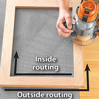 Routing on the edge of a frame on gray cloth
