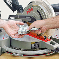 Handing money over a tool
