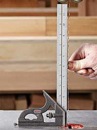 Metal ruler by bandsaw blade