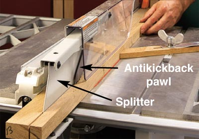 Parts Of A Table Saw Splitter Blade Guard Set Up
