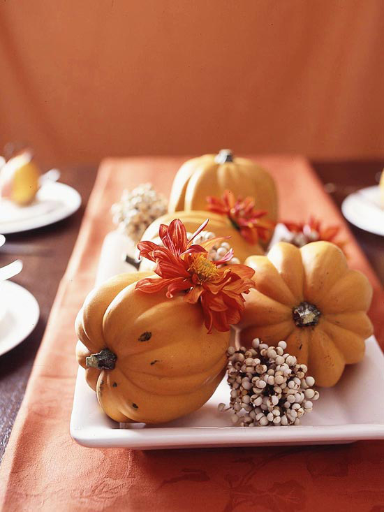 holiday squash and flowers on tray